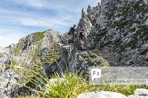 Bergsteiger an einem gesicherten Klettersteig  Mittenwalder Höhenweg  Karwendelgebirge  Mittenwald  Deutschland  Europa