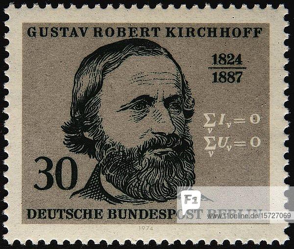 Deutsche Briefmarke mit dem Porträt von Gustav Robert Kirchhoff  einem deutschen Physiker  Schweden  Europa