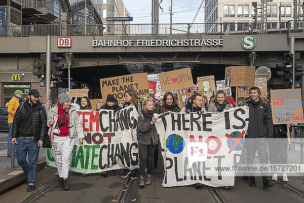Climate strike  students with banners at the demonstration  Fridays for Future  Friedrichstraße  Berlin  Germany  Europe