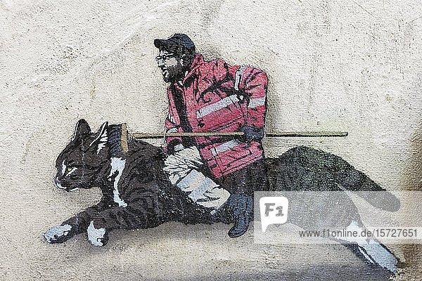Straßenkehrer mit Besen reitet auf einer Katzenfigur  Stadtreinigung  skurriles Wandbild  Paste-up  Streetart  Brüssel  Belgien  Europa
