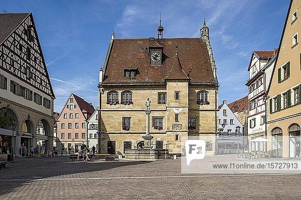 Altes Rathaus mit Schweppermannsbrunnen  Marktplatz  Altstadt  Weißenburg in Bayern  Mittelfranken  Franken  Bayern  Deutschland  Europa