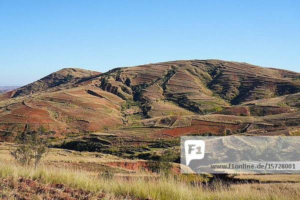 Landscape on the RN34 route close to Antsirabe  Central Madagascar