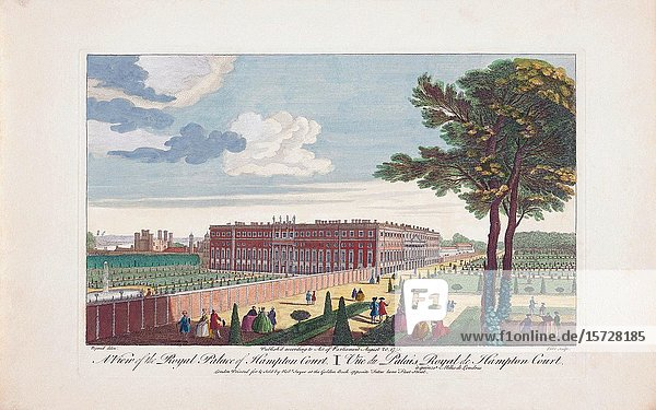 A view of the Royal Palace of Hampton Court. London  England. After an engraving dated 1751 published by Robert Sayer. Later colourization.