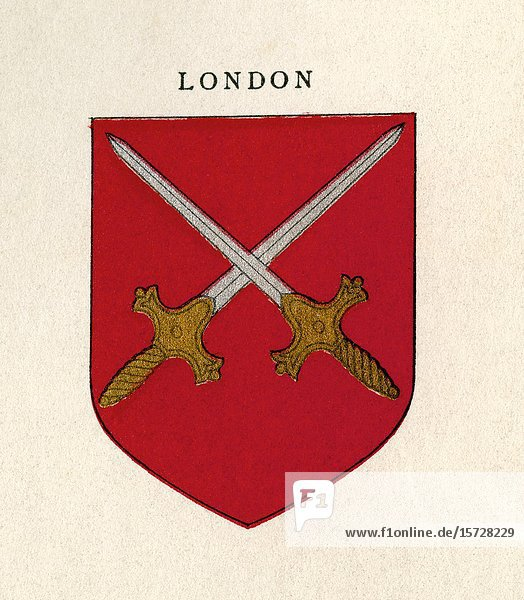 Coat of arms of the Diocese of London  England. From Cathedrals  published 1926.