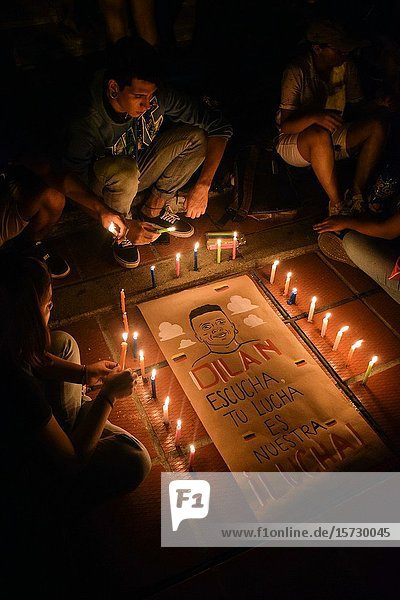 Peaceful protest held in honor of Dilan Cruz  a teenage demonstrator who died after being injured by a tear gas canister shot by the Esmad. Cali  Colombia  Tuesday  Nov. 26  2019.