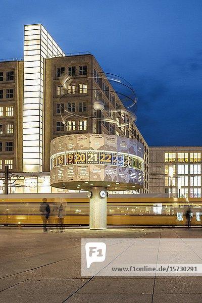 Berlin Germany  The world Clock on Alexanderplatz at night.