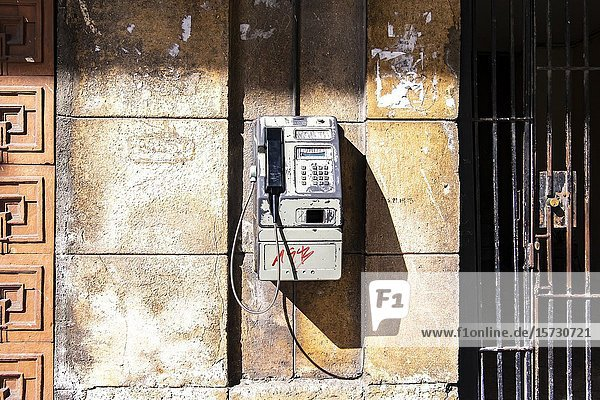 Old telephone in the streets of Old Havana  Republic of Cuba  Caribbean  Central America.