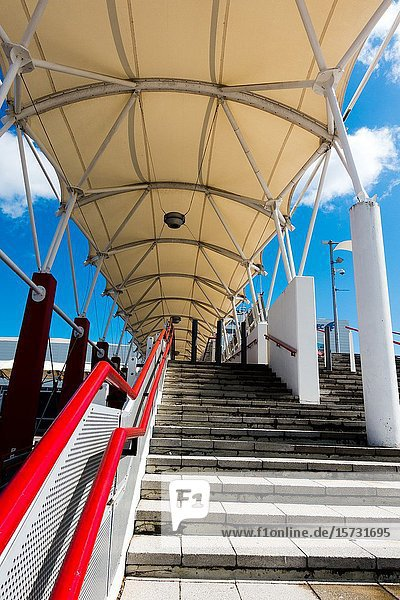Outside staircase ExCel London UK.