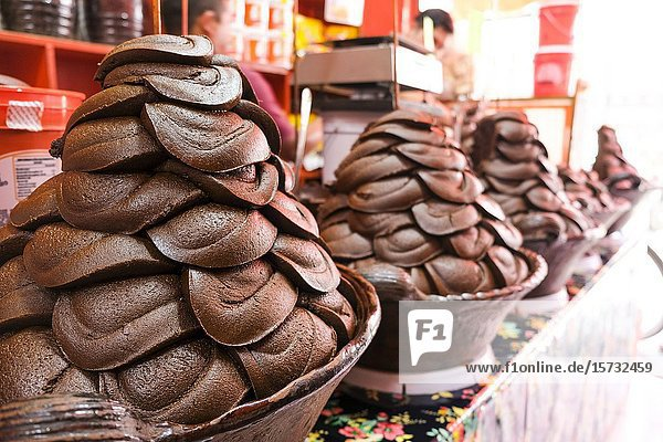 Delicious Mexican Mole freshly prepared and ready to sell. Guadalajara  Jalisco. Mexico.