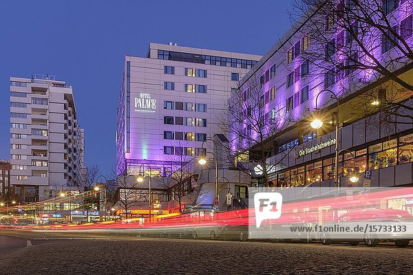 Hotel Palace adjacent to a zoo Budapester Strasse at night. Berlin Germany.