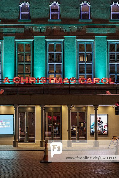 A Christmas Carol at the Old Vic Theatre  exterior  London England.