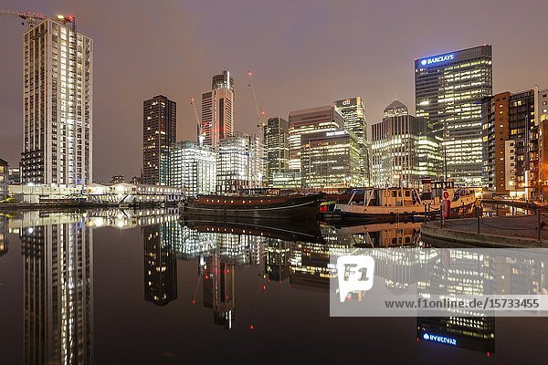 Evening at Canary Wharf in London  England.