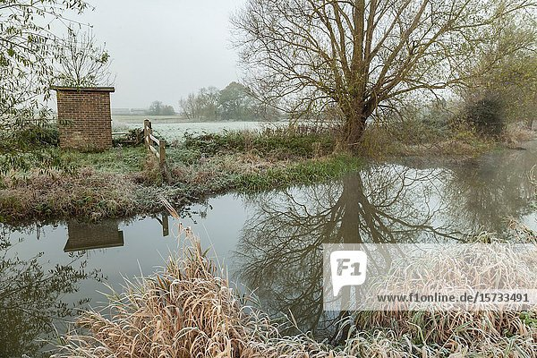 Frosty dawn on river Ouse in East Sussex  England.