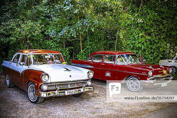 Oldtimers used as a taxi in the Vinales Valley  Republic of Cuba  Caribbean  Central America.