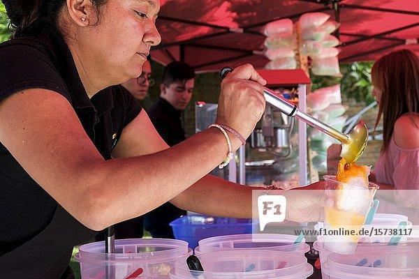 Paddler are preparing a delicious street food. Guadalajara  Jalisco. Mexico.