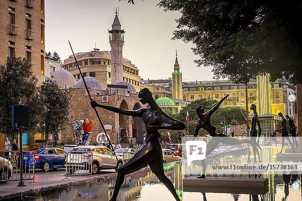 `The warriors' sculptures by Antonio Signorini  in Samir Kassir garden or square  in background Waygand street  Downtown  Beirut  Lebanon.