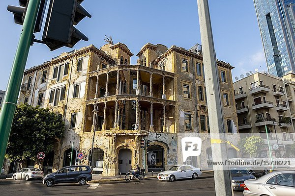 The Yellow House  also called Barakat building or Beit Beirut  Cultural Center dedicated to the historical memory of the Civil War  Beirut. Lebanon.