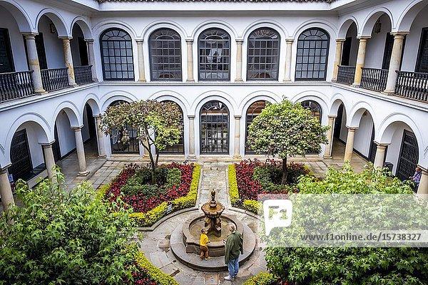 Courtyard of Botero Museum  Bogota  Colombia.