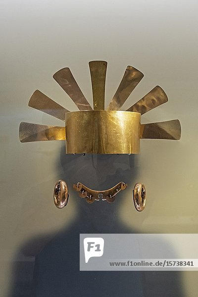 Crowns and helmets were worn by leaders  Pre-Columbian goldwork collection  Gold museum  Museo del Oro  Bogota  Colombia  America.