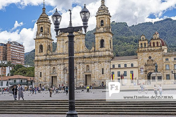 Bolivar square  and the cathedral  Bogotá  Colombia.