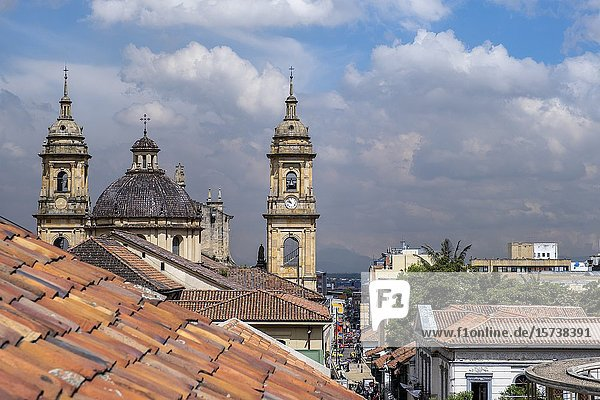 Skyline  in background Catedral Primada or cathedral  historic center  old town  Bogota  Colombia.