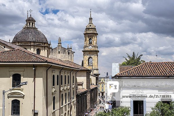 Calle 11 or 11 Street  in background Catedral Primada or cathedral  skyline  historic center  old town  Bogota  Colombia.
