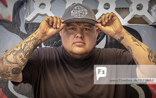 Jeihhco Castaño  social leader  Hip Hopper  member of rap band C15  co-founder of `La Casa de Hip Hop Kolacho'  from Comuna 13  Medellín  Colombia.