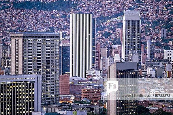 Skyline  Downtown  city center  centro  Medellín  Colombia.