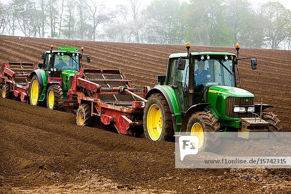 Preparing soil for potato crop sowing Montrose Scotland.