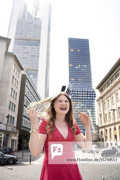 Happy young woman. Frankfurt am Main  Germany.