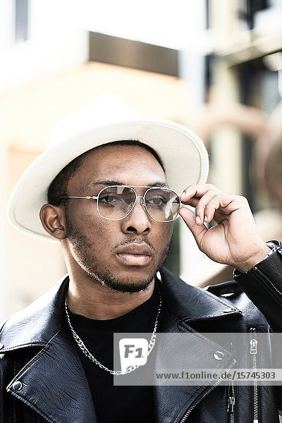 Portrait of man wearing hat. Munich  Germany.