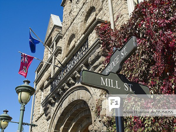 Street sign and town hall  Carleton Place  Ontario  Canada.