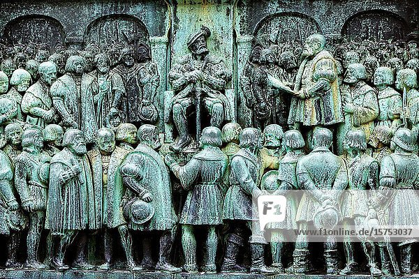 The assembly of noblemen of Copenhagen adopt reformation on October 30th  1536 - this scene refers to the act of King Christian III  when he proclaimed Denmark a protestant country. Historical Monument across the street from Vor Frue Kirke (Church of Our Lady)  the Lutheran cathedral of Copenhagen.