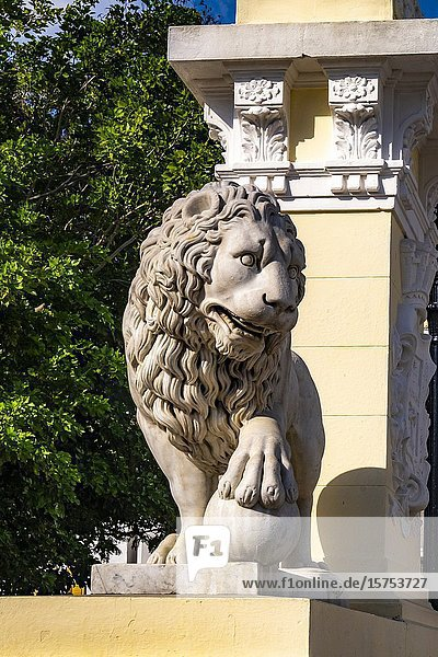 Stone lion of the old church at the Jose Marti Square  Cienfuegos  Republic of Cuba  Caribbean  Central America.
