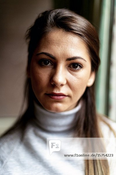 Tilburg  Netherlands. Portrait of a young  Romanian woman and labour immigrant to The Netherlands.