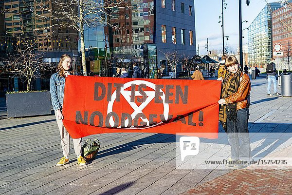 Rotterdam  Netherlands. Action & Protest by Young People against Climate Change and the inabillity of governments to take nessesary measures.