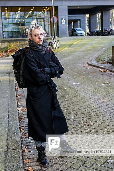 Rotterdam  Netherlands. Portrait of Member of XR   Extinction Rebellion attending a protest against climate change and the inability of governments to take nessesary measures.