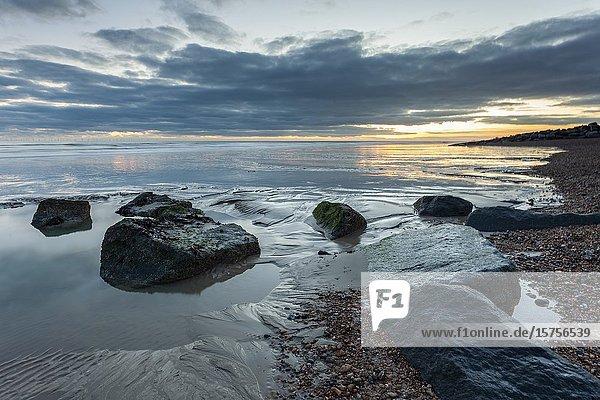 Winter evening on Shoreham beach  West Sussex  England.
