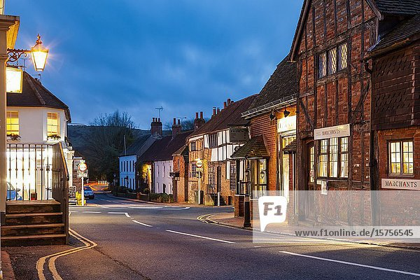 Winter evening in Ditchling village  East Sussex  England.