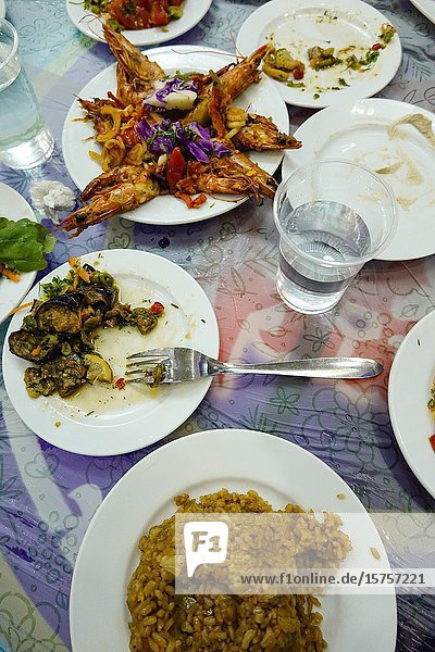 Marsa Matruh  Egypt An assortment of dishes at a local fish restaurant including grilled shrimp  rice  eggplant  salads.