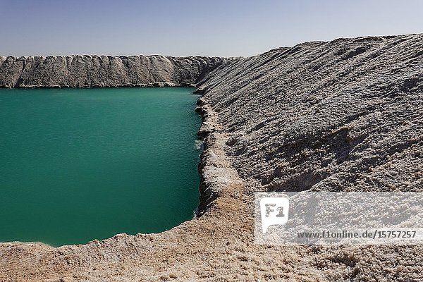 Siwa Oasis  Egypt The Siwa salt lakes which are used ot produce salt for export.