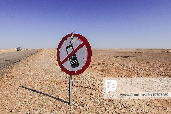 Marsa Matrouh  Egypt A sign forbidding the use of mobile phones while driving.