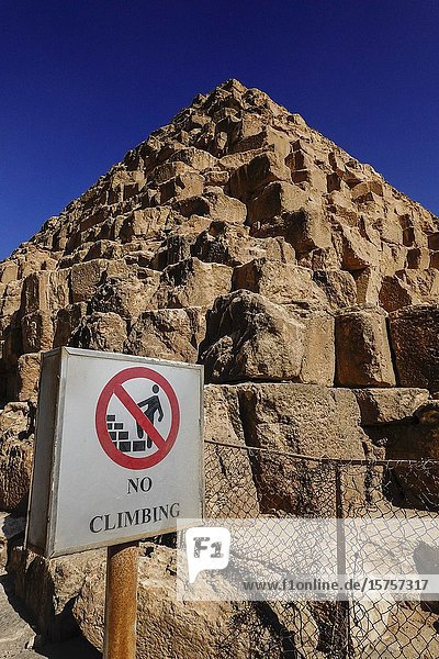 Cairo  Egypt A no-climbing sign on the grounds of the Pyramids of Giza.