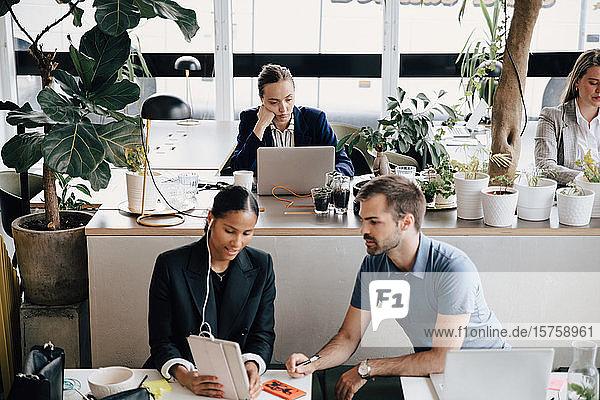 Kollegen diskutieren  während eine Geschäftsfrau im Büro am Laptop arbeitet