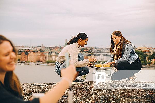 Freundinnen rösten beim Picknick Zuckermais auf einer Felsformation am See Freundinnen rösten beim Picknick Zuckermais auf einer Felsformation am See