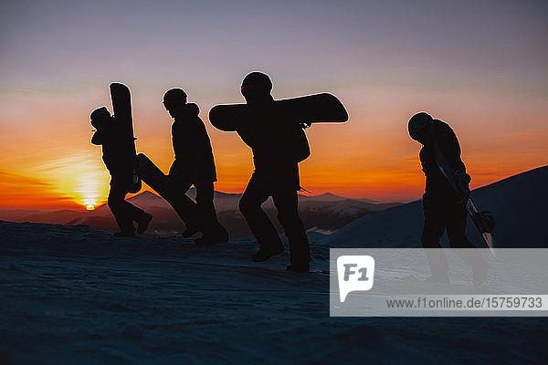 Freunde wandern bei Sonnenuntergang mit Snowboards  Karpaten  Ukraine