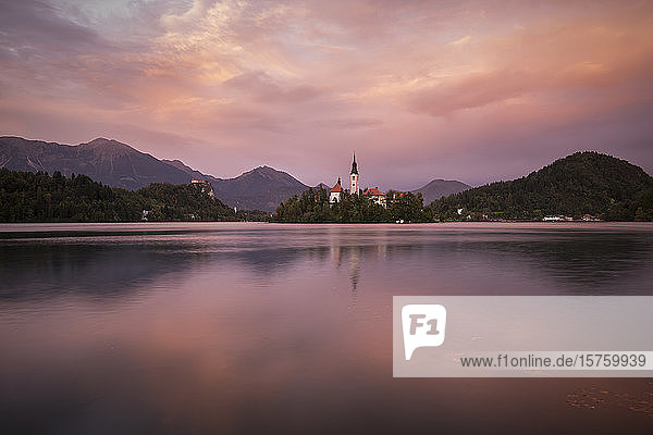 Aerial view of Bled Island with Church of the Assumption at dusk  Lake Bled  Upper Carniola  Slovenia
