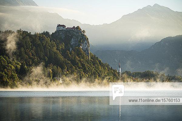 Bled Castle at dawn  Lake Bled  Upper Carniola  Slovenia