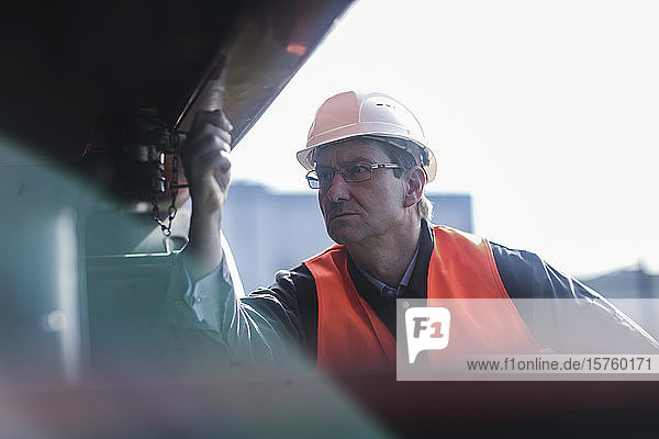 Engineer working at port