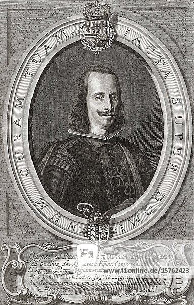 Gaspar de Bracamonte y Guzmán  3rd Count of Peñaranda  c. 1595-1676. Spanish diplomat and statesman. He headed the Spanish delegation at the Peace of Westphalia. After a 17th century engraving.